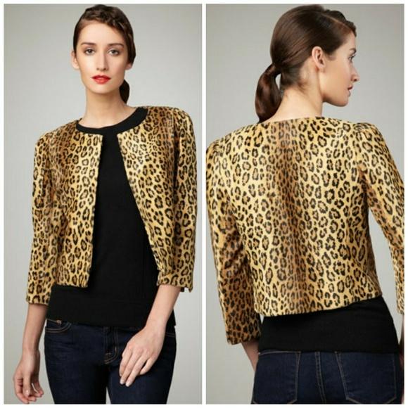 d304c19c3ec4 Milly Faux Fur Leopard Print Crop Jacket. M_5b3472606a0bb74f3a885919